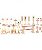 Houten speelgoed verkeersborden 29 stuks
