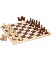 Houten spel schaken en dammen