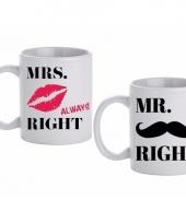 Huwelijk kado beker mokken set mr mrs right