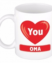 I love you oma cadeau koffiemok beker 300 ml