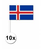 Ijsland zwaai vlaggetjes 10 stuks 12 x 24 cm