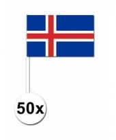 Ijsland zwaai vlaggetjes 50 stuks 12 x 24 cm