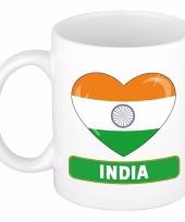 Indische vlag hartje koffiemok 300 ml