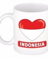 Indonesische vlag hartje koffiemok 300 ml