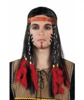 Inidanen pruik met hoofdband en vlechten
