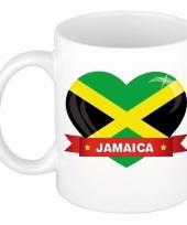 Jamaicaanse vlag hartje koffiemok 300 ml