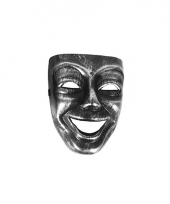 Joker masker zilver met zwart