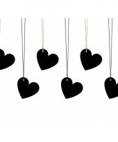 Kado tags zwarte hartjes 6 stuks