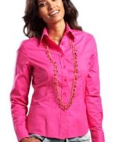 Katoenen fuchsia overhemd met lange mouwen voor dames