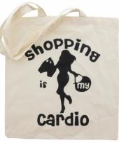 Katoenen tasje met opdruk cardio shopping