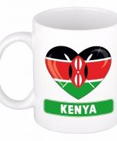 Keniaanse vlag hartje koffiemok 300 ml