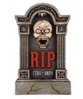 Kerkhof grafsteen met led ogen en bewegende kaak