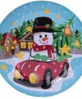 Kerst bord met sneeuwpop 25 cm