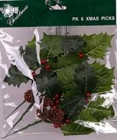 Kerst decoratie hulstblad prikker