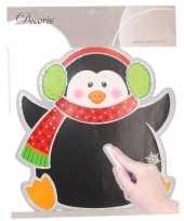 Kerst decoratie pinguin krijtbord sticker 31 x 38 cm