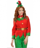 Kerst diadeem mini elfen mutsje met strik