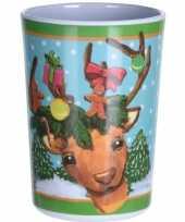 Kerst drinkbeker rendier 11 cm