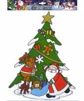 Kerst raamsticker kerstman met rendier