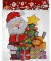 Kerst raamstickers raamdecoratie 3d kerstman 25 x 34 cm