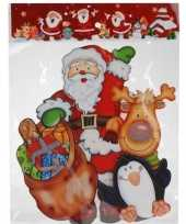 Kerst raamstickers raamdecoratie 3d kerstman pinguin 25 x 34 cm