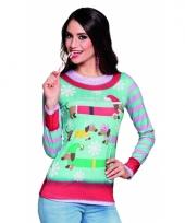 Kerst t-shirt met sneeuwvlokken print 10075237
