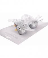 Kerst versiering zilveren vogel