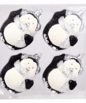 Kerstbal pinguin pakket 4 x zwart onbreekbaar