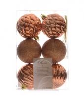 Kerstballen mix koper 6 stuks