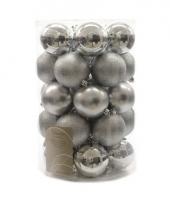 Kerstballen mix zilver 34 stuks