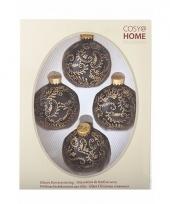 Kerstballen pakket 4 x zwart goud 10091130