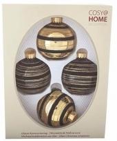 Kerstballen pakket 4 x zwart goud