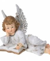 Kerstbeeldje engel met boek type 2