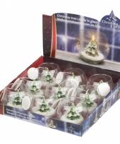 Kerstboom deco kaarsje in glas 10 x 8 cm