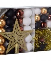 Kerstboom decoratie set 33 delig goud zwart wit