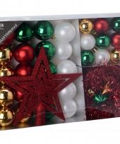 Kerstboom decoratie set 33 delig rood goud groen