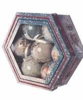 Kerstboom decoratie vintage kerstballen cadeaubox 7 stuks 7 5 cm