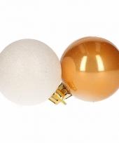Kerstboomversiering gouden en witte ballen 5 cm