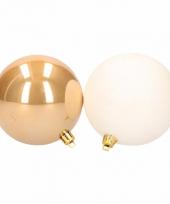 Kerstboomversiering gouden en witte ballen 8 cm