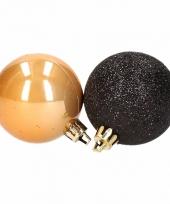 Kerstboomversiering gouden en zwarte ballen 5 cm