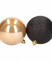 Kerstboomversiering gouden en zwarte ballen 8 cm