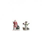 Kerstdorp figuurtjes kerstman en sneeuwpop 1