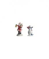Kerstdorp figuurtjes kerstman en sneeuwpop 2