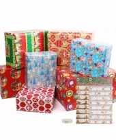 Kerstmis cadeaupapier en cadeaustickers set m