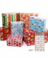 Kerstmis cadeaupapier en cadeaustickers set s
