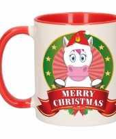 Kerstmis ontbijtbeker rood wit met eenhoorn voor kinderen 300 ml