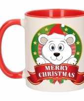 Kerstmis ontbijtbeker rood wit met ijsbeer voor kinderen 300 ml