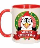 Kerstmis ontbijtbeker rood wit met pinguin voor kinderen 300 ml