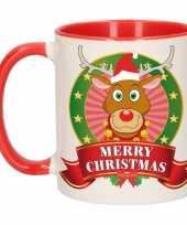 Kerstmis ontbijtbeker rood wit met rendier voor kinderen 300 ml