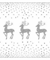 Kerstontbijt servetten rendieren en stippen wit