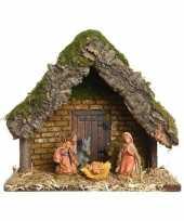 Kerststal met 5 kerst figuren 23 cm